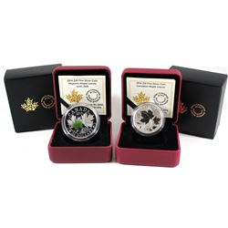 2014 Canada $20 Majestic Maple Leaves with Jade & 2016 Canada $10 Maple Leaves Fine Silver Coins (20