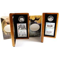 2004 Canada $5 The Majestic Moose & 2004 $8 The Great Grizzly Sterling Silver Coin and Stamp Sets (t