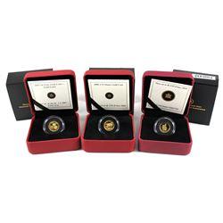 2007 Canada $1 1/20oz Gold Louis, 2008 50-cent 1/25oz de Havilland Beaver & 2010 50-cent 1/25oz RCMP
