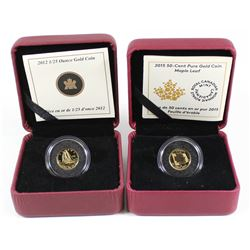 2012 Canada The Bluenose & 2015 Maple Leaf 50-cent 1/25oz Fine Gold Coins. 2pcs (TAX Exempt)