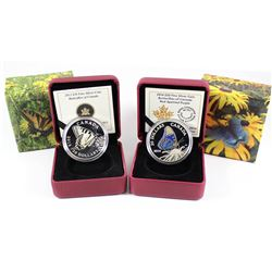 2013 & 2014 Canada $20 Butterflies of Canada Fine Silver Coins - 2013 Tiger Swallowtail & 2014 Red-S