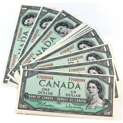 1954 $1 Bank of Canada Notes '22 in Sequence' with 3-digit Radar Note. 22pcs.