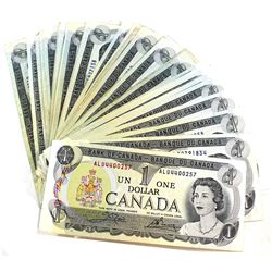 53x 1973 $1 Bank of Canada Banknote Collection in Average Condition. 53pcs.