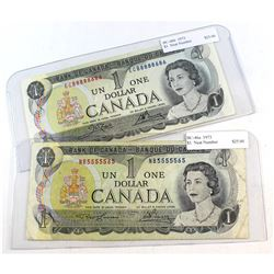 1973 $1 BC-46b & 1973 $1 BC-46a Bank of Canada Notes with Unique Serial Numbers, ECB8888686/NB555556
