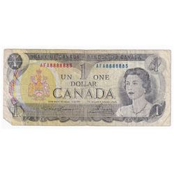1973 $1 BC-46a-i Bank of Canada Note with Unique Serial Number, AFA8888885.