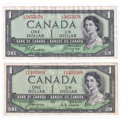 1973 $1 Bank of Canada, Coyne-Towers & Beattie-Coyne, Devils Face Notes. 2pcs.