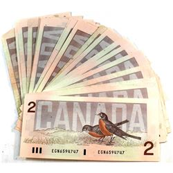 34x 1986 $2 Bank of Canada Banknote Collection. 34pcs.