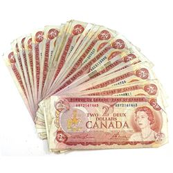 27x 1974 $2 Bank of Canada Banknote Collection in Circulated Condition. 27pcs.