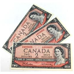 3x 1954 $2 Bank of Canada, Beattie-Rasminsky, Y/R, Collection. You will receive 3 Notes in Sequence,