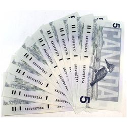 9x 1986 $5 Bank of Canada Note Collection '9 In Sequence'. ANS4987376 to /84. Notes appear to be in