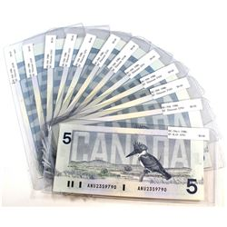12x 1986 Canada $5 Notes with All different Prefixes. 12pcs.