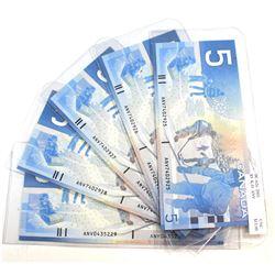 5x 2001 $5 BC-62a, K-D, ANV, 5 Consecutive Notes, ANV7402925-29, UNC. 5pcs.