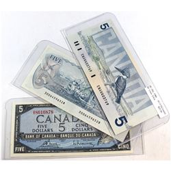 1954-1986 Canada $5 Banknote Collection (impaired). You will receive a 1954 BC-39c Bouey, U/X, AU (h