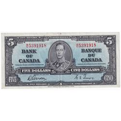 1937 $5 BC-23b, Bank of Canada, Gordon-Towers, W/C, EF (stain).