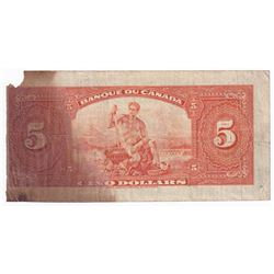 1935 $5 BC-6, Banque du Canada, Osborne-Towers, French (impaired)