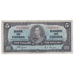 1937 $5 BC-23c, Bank of Canada, Coyne-Towers, Z/C, Fine (damaged).