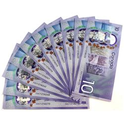 10x 2017 Canada Commemorative $10 Notes with CDC Prefix, UNC. 10pcs.