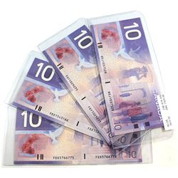 2001-2002 Canada $10 Notes with 4 Different Prefixes, AU-UNC. You will receive 1x 2001 & 3x 2002. 4p