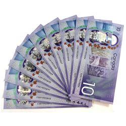 2017 $10 BC-75, Bank of Canada, 10 Consecutive Notes, UNC. CDB1903884-93