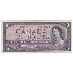1954 $10 BC-32a, Bank of Canada, Coyne-Towers, Devils Face, C/D Prefix, F-VF (writing).