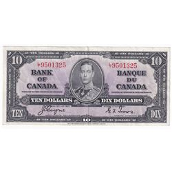 1937 $10 Bank of Canada, Coyne-Towers, L/T, EF (pin holes)