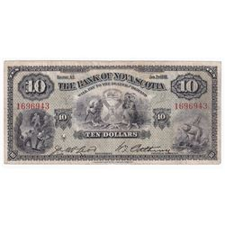 1935 $10 55-36-04, Bank of Nova Scotia, VG (pin holes)