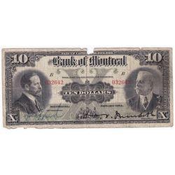 1914 $10 505-54-06, Bank of Montreal, Manuscript Signature (impaired).