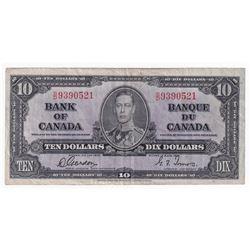 1937 $10 BC-24b, Bank of Canada, Gordon-Towers, S/D, VF (tear).