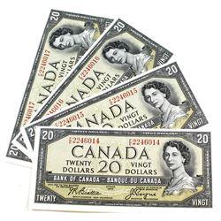 4x 1954 Canada $20 Bank of Canada, Beattie-Coyne, 4 Consecutive Notes, F/E. FE2246014/15/16/17. 4pcs