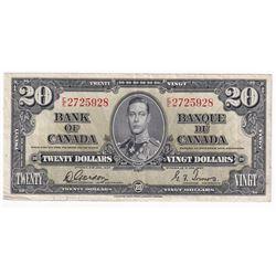 1937 $20 Bank of Canada, Gordon-Towers, E/E2725928.