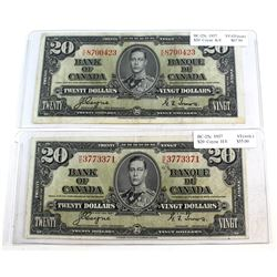 2x 1937 $20 Bank of Canada, Coyne-Towers Set (impaired). You will receive a K/E Prefix VF-EF (tear),