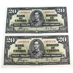 2x 1937 $20 Bank of Canada, Coyne-Towers, Consecutive Notes, K/E4850333/34. 2pcs.