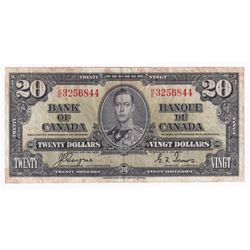 1937 $20 BC-25c, Bank of Canada, Coyne-Towers, H/E Prefix, VF (damaged)