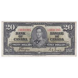 1937 $20 BC-25c, Bank of Canada, Coyne-Towers, L/E Prefix, F-VF (damaged)