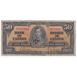 1937 $50 BC-26b, Bank of Canada, Gordon-Towers, B/H Prefix (impaired)