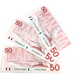 3x 1988 $50 Bank of Canada, 3 Different Prefixes. FHJ, FHV, FHY. Appear UNC. 3pcs.