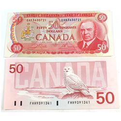 1975 & 1988 $50 Bank of Canada, Banknote Set (folds) 2pcs.
