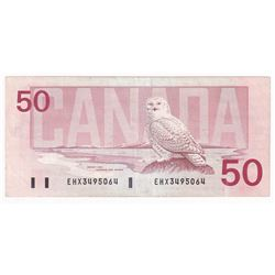 1988 $50 BC-59aA, Bank of Canada, Thiessen-Crow, EHX Prefix, Above 2.1M.