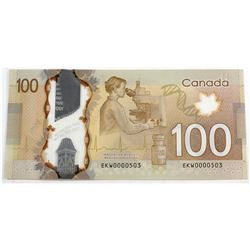 2011 $100 BC-73a, Bank of Canada, Low Serial #, CUNC. EKW0000503.