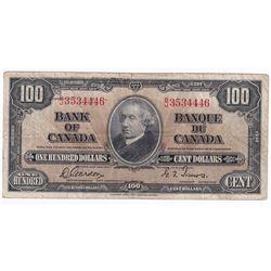 1937 $100 Bank of Canada, Gordon-Towers, B/J Prefix.