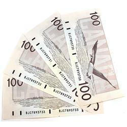 4x 1988 $100 Bank of Canada, BJC Prefix, 4 Consecutive Notes. BJC7893730/31/32/33. 4pcs.