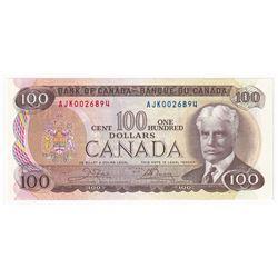 1975 $100 BC-52b, Bank of Canada, Crow-Bouey, AJK Prefix, AU-UNC.