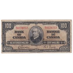 1937 $100 BC-27b, Bank of Canada, Gordon-Towers, B/J Prefix, CIRC (impaired).