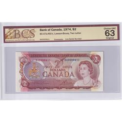 1974 $2 BC-47a-N5-iv, Bank of Canada, Lawson-Bouey, Two Letter, BCS Certified CUNC-63 Original. Low