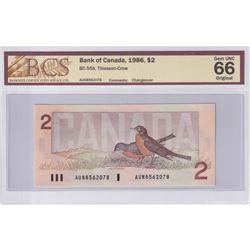 1986 $2 BC-55b, Bank of Canada, Thiessen-Crow, Changeover, BCS Certified GUNC-66 Original. AUN856207