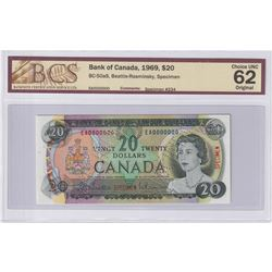 1969 $20 BC-50aS, Specimen #234, Bank of Canada, Beattie-Rasminsky, BCS Certified CUNC-62 Original.