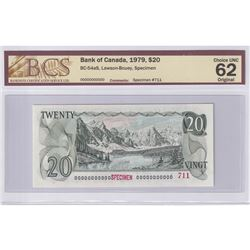 1979 $20 BC-54aS, Specimen #711, Bank of Canada, Lawson-Bouey, BCS Certified CUNC-62 Original.