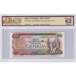1975 $100 BC-52aS, Specimen #242, Bank of Canada, Lawson-Bouey, BCS Certified CUNC-62 Original. JA00