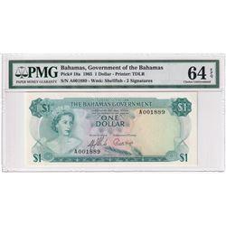 Bahamas: 1965 $1 Pick# 18a, 2-Signatures, Shellfish, S/N, PMG Certified CUNC-64 EPQ. A001889.