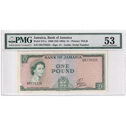 Jamaica: 1960 1-Pound, Pick #51Ca, Bank of Jamaica, S/N, Sign #1 'Gothic', PMG Certified AU-53. DD77